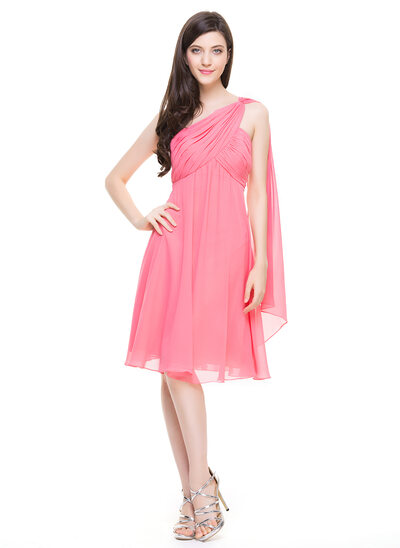 A-Line/Princess One-Shoulder Knee-Length Chiffon Cocktail Dress With Ruffle