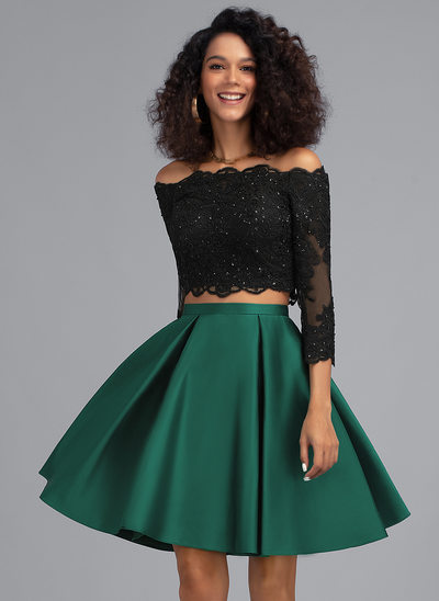 A-Line Off-the-Shoulder Knee-Length Satin Homecoming Dress With Beading Sequins