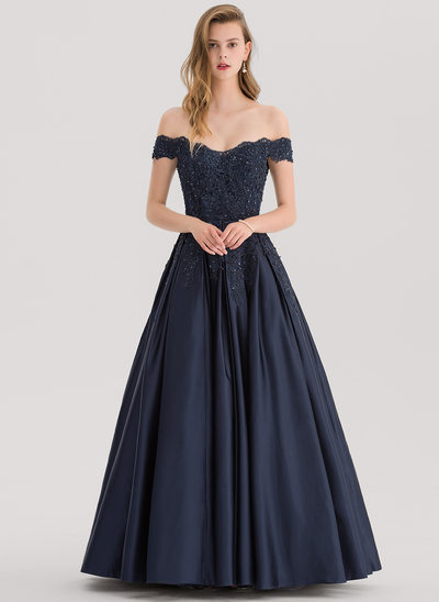 Ball-Gown Off-the-Shoulder Floor-Length Satin Prom Dress With Beading Sequins