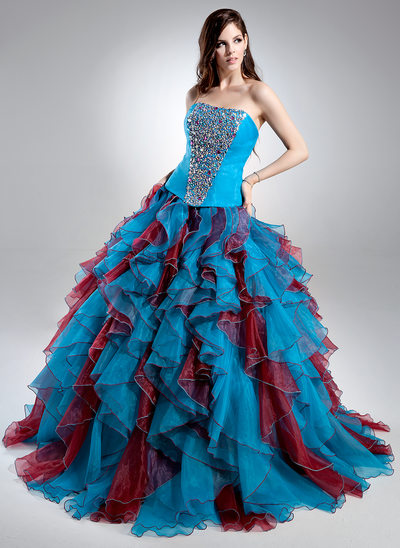 Ball-Gown Sweetheart Sweep Train Organza Quinceanera Dress With Beading Cascading Ruffles