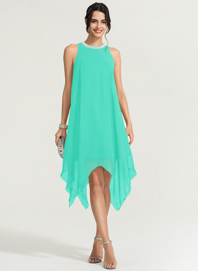 A-Line Scoop Neck Asymmetrical Chiffon Cocktail Dress With Beading