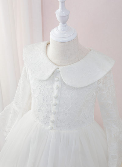 Ball-Gown/Princess Floor-length Flower Girl Dress - Tulle/Lace Long Sleeves Peter Pan Collar With Ruffles