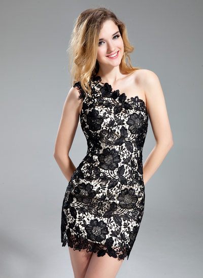 Sheath/Column One-Shoulder Short/Mini Lace Cocktail Dress