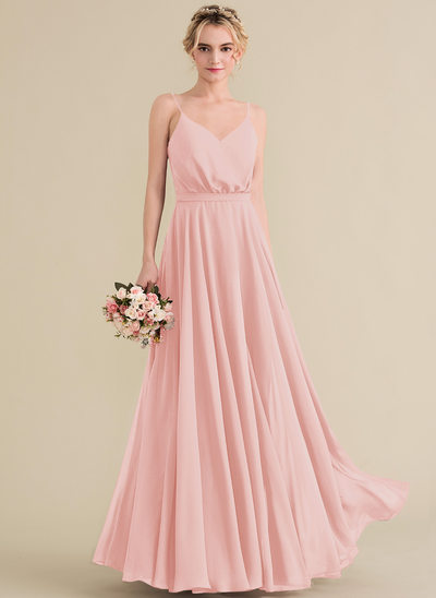 A-Line/Princess V-neck Floor-Length Chiffon Prom Dresses With Bow(s)