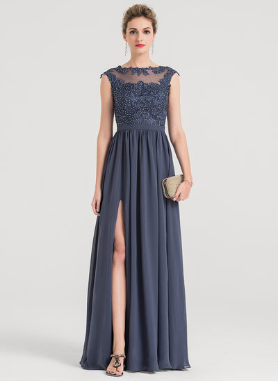 A-Line/Princess Scoop Neck Floor-Length Chiffon Evening Dress With Beading