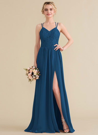 A-Line/Princess Sweetheart Floor-Length Chiffon Lace Bridesmaid Dress With Split Front