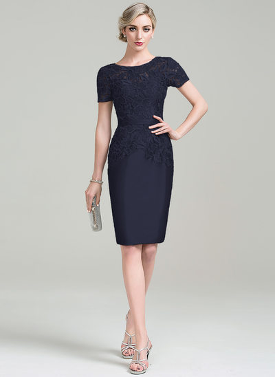 Sheath/Column Scoop Neck Knee-Length Taffeta Lace Mother of the Bride Dress