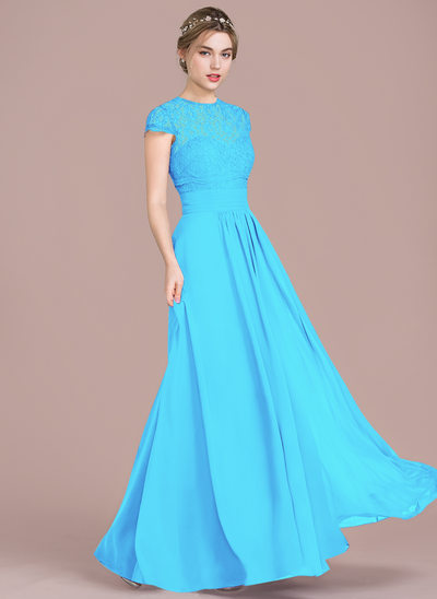 d06b9f119 A-Line/Princess Sweetheart Floor-Length Chiffon Lace Bridesmaid Dress With  Ruffle