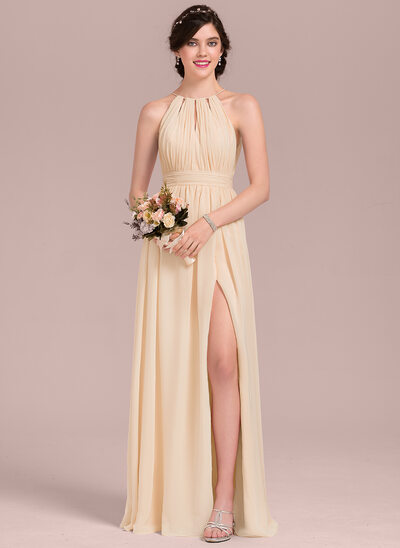 A-Line Scoop Neck Floor-Length Chiffon Bridesmaid Dress With Ruffle Bow(s) Split Front