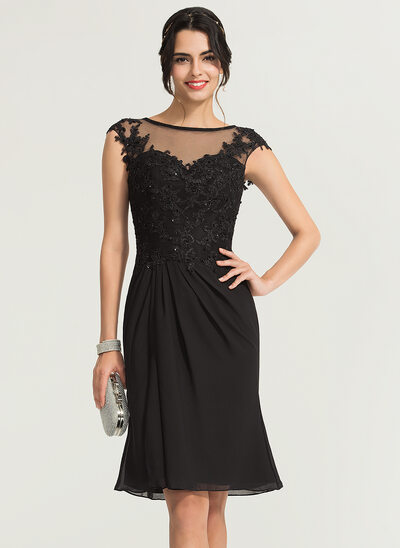 Trumpet/Mermaid Scoop Neck Knee-Length Chiffon Cocktail Dress With Beading
