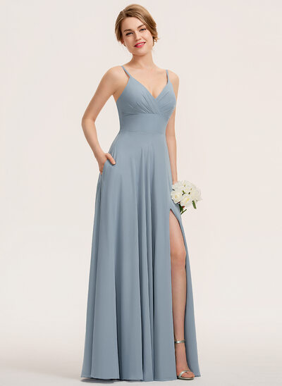 A-Line V-neck Floor-Length Chiffon Prom Dresses With Ruffle Pockets