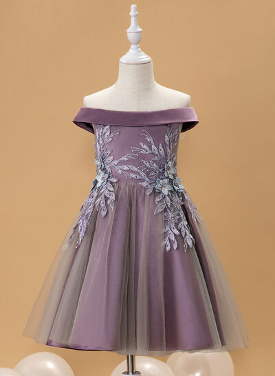 A-Line Knee-length Flower Girl Dress - Satin/Tulle Sleeveless Off-the-Shoulder With Lace/Beading