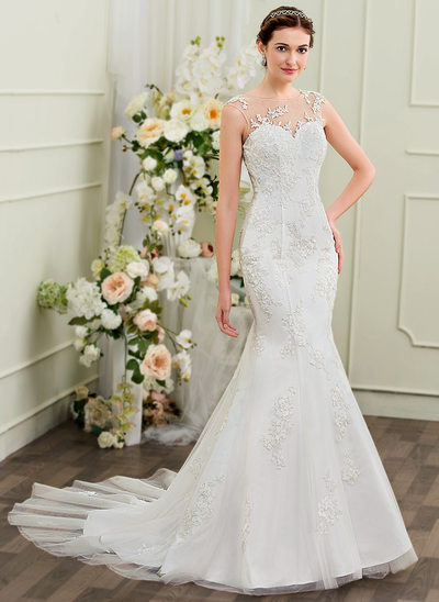 Trumpet/Mermaid Illusion Chapel Train Tulle Lace Wedding Dress