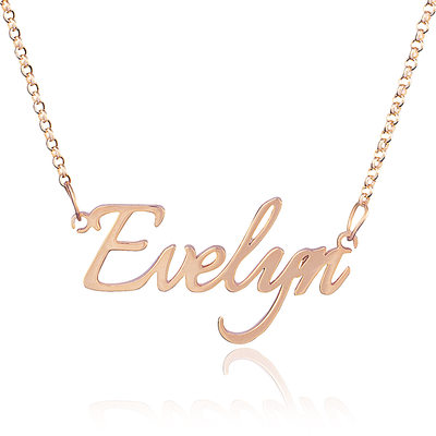 Custom 18k Rose Gold Plated Silver Name Necklace
