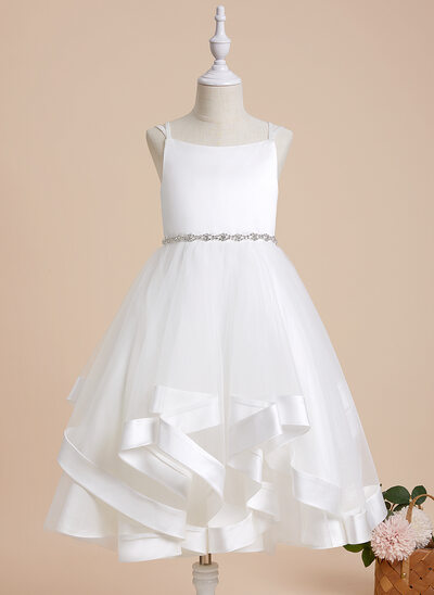 A-Line Tea-length Flower Girl Dress - Satin/Tulle Sleeveless Straps With Beading