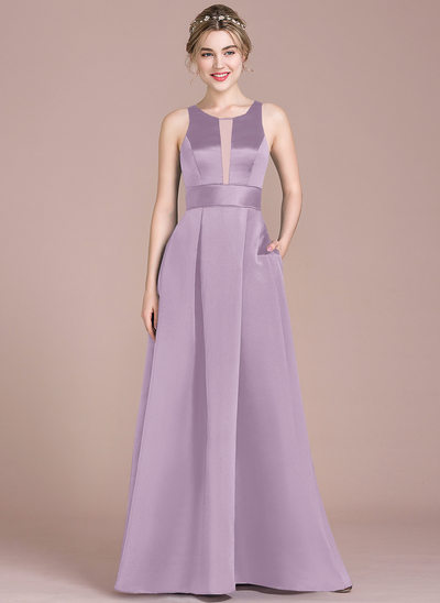 A-Line Scoop Neck Floor-Length Satin Bridesmaid Dress With Pockets
