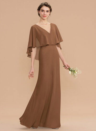 A-Line V-neck Floor-Length Chiffon Bridesmaid Dress