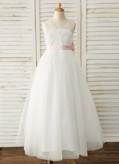 A-Line Floor-length Flower Girl Dress - Satin/Tulle/Lace Sleeveless Scoop Neck With Bow(s) (Undetachable sash)