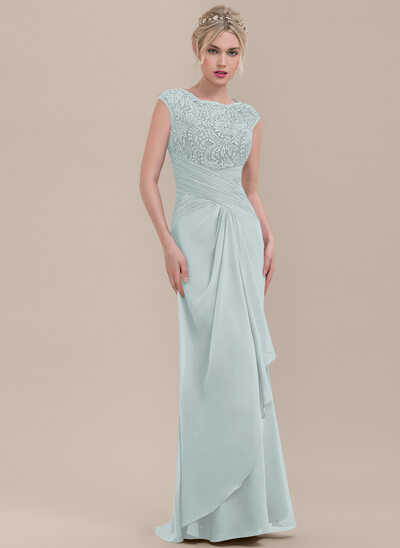Sheath/Column Scoop Neck Floor-Length Chiffon Lace Bridesmaid Dress With Cascading Ruffles