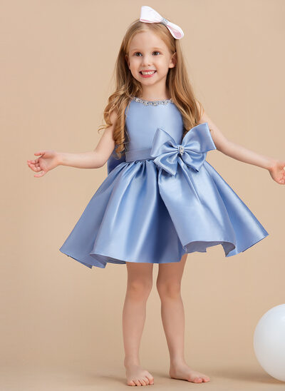 Ball-Gown/Princess Knee-length Flower Girl Dress - Satin Sleeveless Scoop Neck With Bow(s)