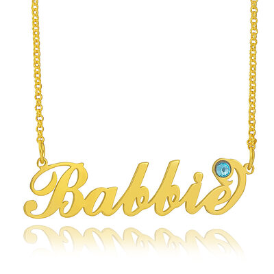 [Free Shipping]Custom 18k Gold Plated Silver Name Carrie Birthstone Necklace With Kids Names (288216128)-Christmas Gifts
