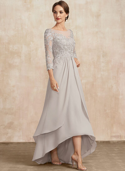 A-Line Scoop Neck Asymmetrical Lace Chiffon Mother of the Bride Dress
