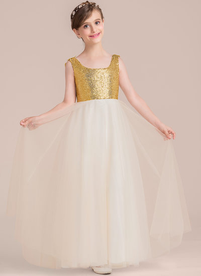 A-Line/Princess Floor-length Flower Girl Dress - Tulle/Sequined Sleeveless Square Neckline With Beading/Flower(s)