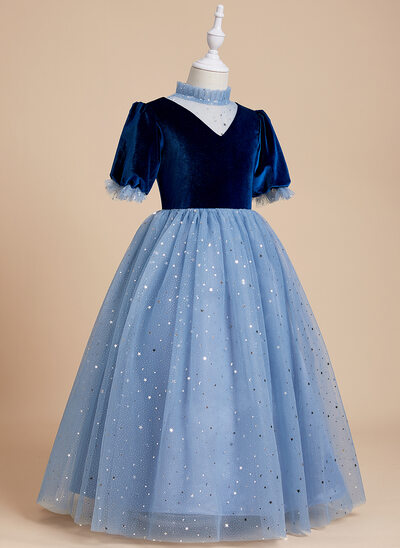Ball-Gown/Princess Floor-length Flower Girl Dress - Tulle/Velvet/Sequined 1/2 Sleeves High Neck