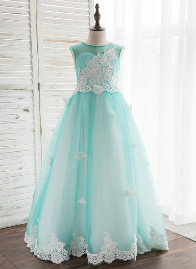 A-Line/Princess Floor-length Flower Girl Dress - Tulle/Lace Sleeveless Scoop Neck With Beading