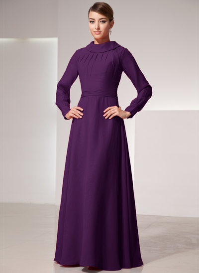 A-Line/Princess Scoop Neck High Neck Floor-Length Chiffon Mother of the Bride Dress With Ruffle