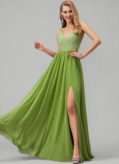 A-Line V-neck Floor-Length Chiffon Prom Dresses With Beading Sequins Split Front