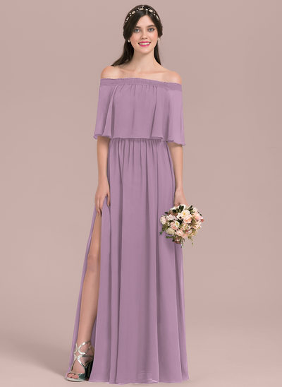 A-Line/Princess Off-the-Shoulder Floor-Length Chiffon Bridesmaid Dress With Split Front