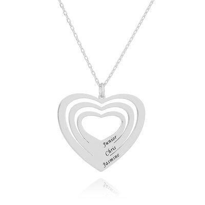 Custom Silver Overlapping Heart Necklace Engraved Necklace - Birthday Gifts Mother's Day Gifts