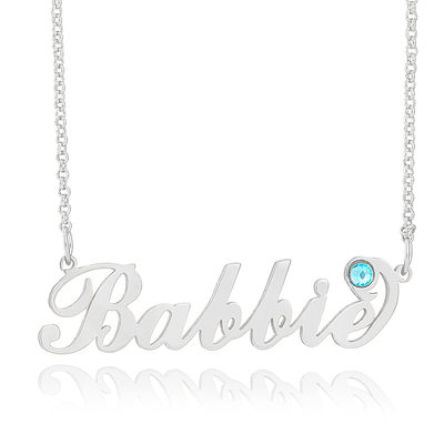 Custom Sterling Silver Name Birthstone Necklace With Kids Names - Birthday Gifts Mother's Day Gifts