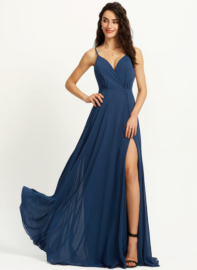 A-Line V-neck Floor-Length Bridesmaid Dress With Split Front