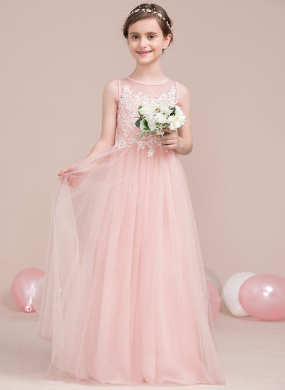 A Line/Princess Scoop Neck Floor Length Tulle Junior Bridesmaid Dress With  Beading
