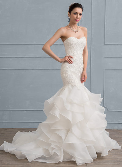 Trumpet Mermaid Sweetheart Sweep Train Organza Lace Wedding Dress