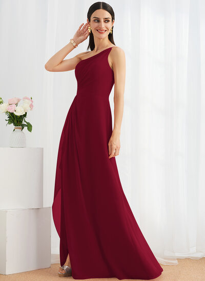 A-Line One-Shoulder Floor-Length Bridesmaid Dress With Ruffle Split Front