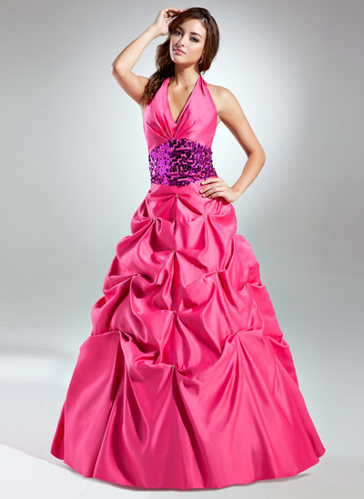 Ball-Gown Halter Floor-Length Taffeta Quinceanera Dress With Ruffle Sash