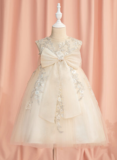 A-Line Knee-length Flower Girl Dress - Tulle Sleeveless Scoop Neck With Lace/Beading/Sequins/Bow(s)