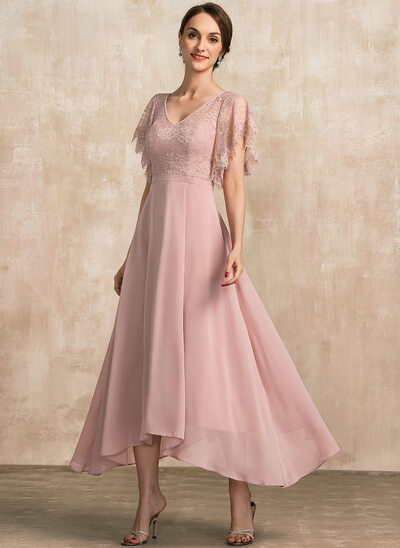 A-Line V-neck Ankle-Length Chiffon Lace Evening Dress