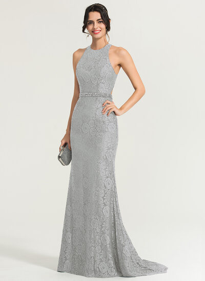 Trumpet/Mermaid Scoop Neck Sweep Train Lace Evening Dress With Beading Sequins