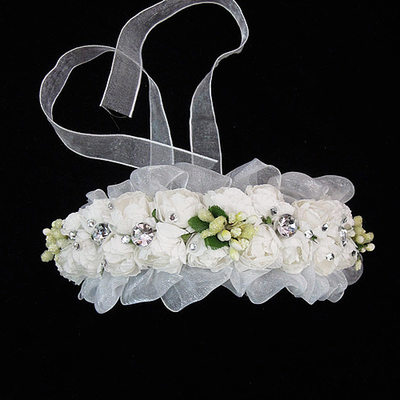 Lovely Tulle/Paper Flowers & Feathers With Rhinestone