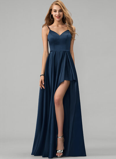 A-Line V-neck Floor-Length Satin Prom Dresses With Split Front Cascading Ruffles