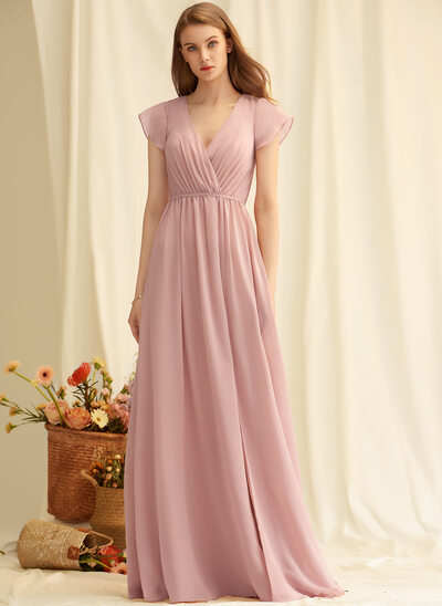 A-Line V-neck Floor-Length Chiffon Bridesmaid Dress With Split Front