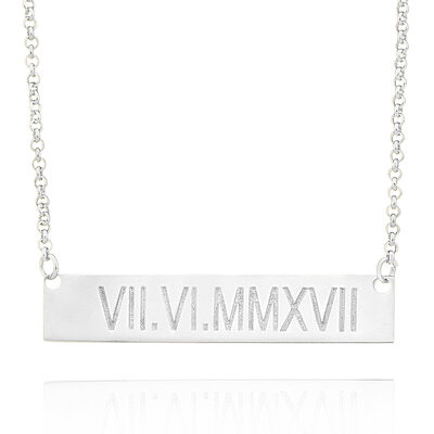 Christmas Gifts For Her - Custom Sterling Silver Engraving/Engraved Bar Necklace