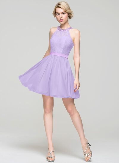 A-Line Scoop Neck Short/Mini Chiffon Homecoming Dress With Beading Sequins Bow(s)