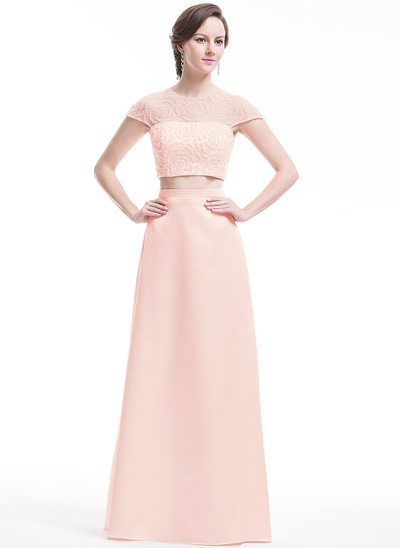 A-Line/Princess Scoop Neck Floor-Length Satin Tulle Prom Dress With Beading