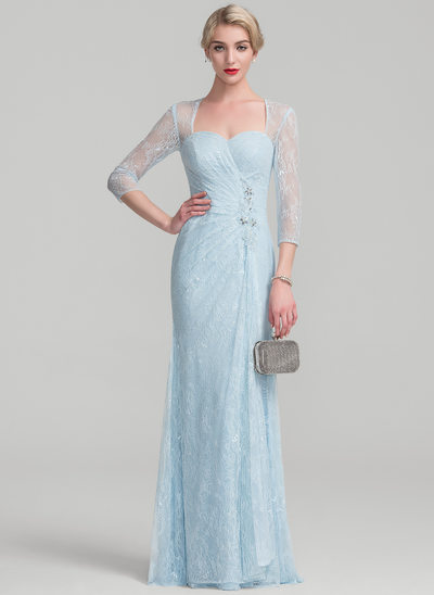 Sheath/Column Floor-Length Lace Mother of the Bride Dress With Beading Sequins