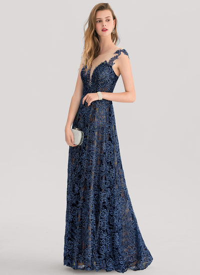 A-Line/Princess Scoop Neck Floor-Length Lace Evening Dress With Beading